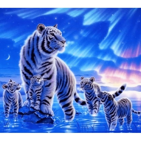 Aurora Winter Tiger Family Diamond Painting Kit